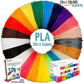 3D Pen Filament Refills - 20 plus 1 Bonus Color including 6 Glow in the Dark & Stencils eBook - 689ft 1.75mm PLA Filament Pack for 3D Printing Pens