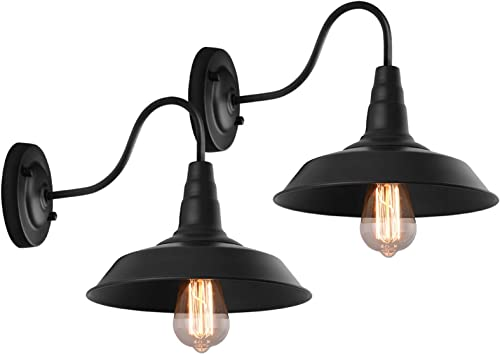 KOSTOMO Indoor Outdoor Wall Sconce Farmhouse Barn Gooseneck Light Fixture Antique Black Finish Bedroom Bathroom Porch E26 Socket Wall Light Hardwired Finish One Pack