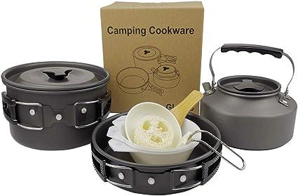 YSCYLY Juego De Cocina para Camping,Juego de ollas y teteras ...