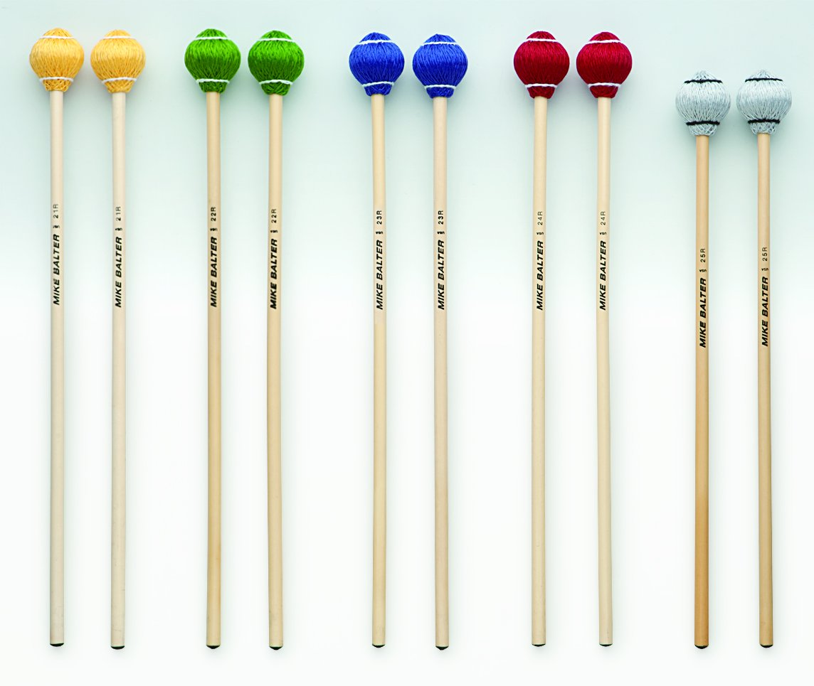 Mike Balter 23R Pro Vibe Series Medium Vibraphone Mallets with Rattan Handles, Blue