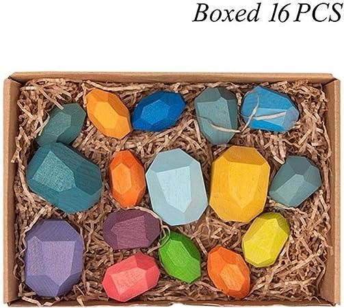 KDHJY Juguetes de Madera de Tonos de Madera Creativa del Jenga Bloque de Piedra de Color Juguetes educativos frío nórdico Estilo de apilamiento de Juegos for niños (Color : J Boxed 16pcs):