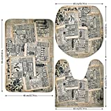 3 Piece Bathroom Mat Set,Antique,Vintage-Style-Layered-Sepia-Toned-Newspaper-Print-with-Old-Fashioned-Illustrations,Black-Cream.jpg,Bath Mat,Bathroom Carpet Rug,Non-Slip