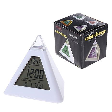 ruiruiNIE Triángulo Pirámide Cambio de Hora LED Alarma ...