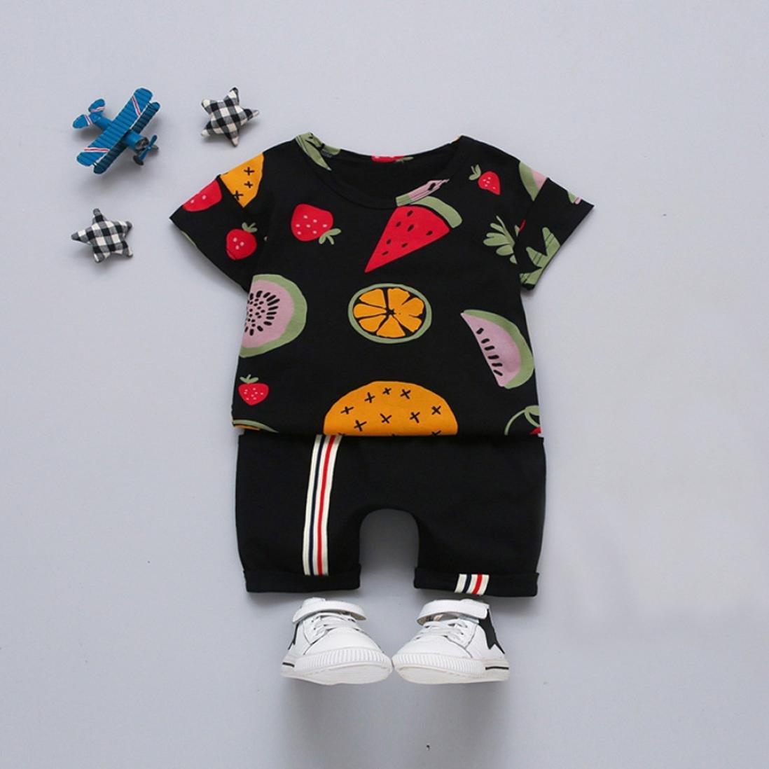 7448b1f28 Amazon.com  Dinlong 2Pcs Infant Baby Boys Clothes Fruit Print T ...