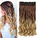 "Neverland Beauty 24"" 3/4 Full Head 5 Clips Clip in Hair Extensions Hairpiece Ombre One Piece 2 Tones Wavy (Dark Brown to Sandy Blonde)"