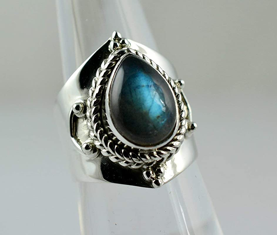 Flasy Blue Fire Labradorite 925 Solid Sterling Silver Handmade Ring Size 3-13 US