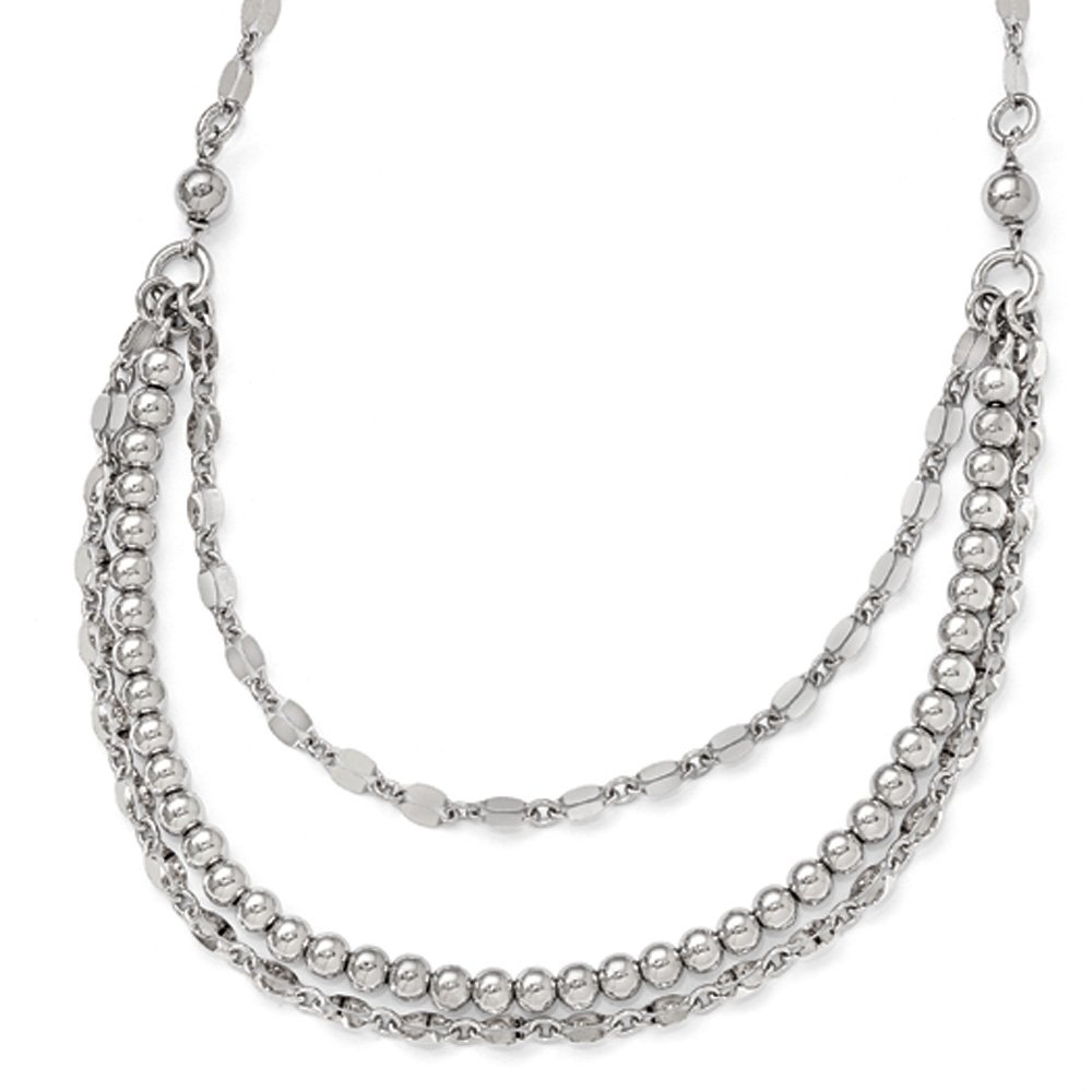 Polished Beaded Three Strand Necklace in Sterling Silver, 16-18 Inch