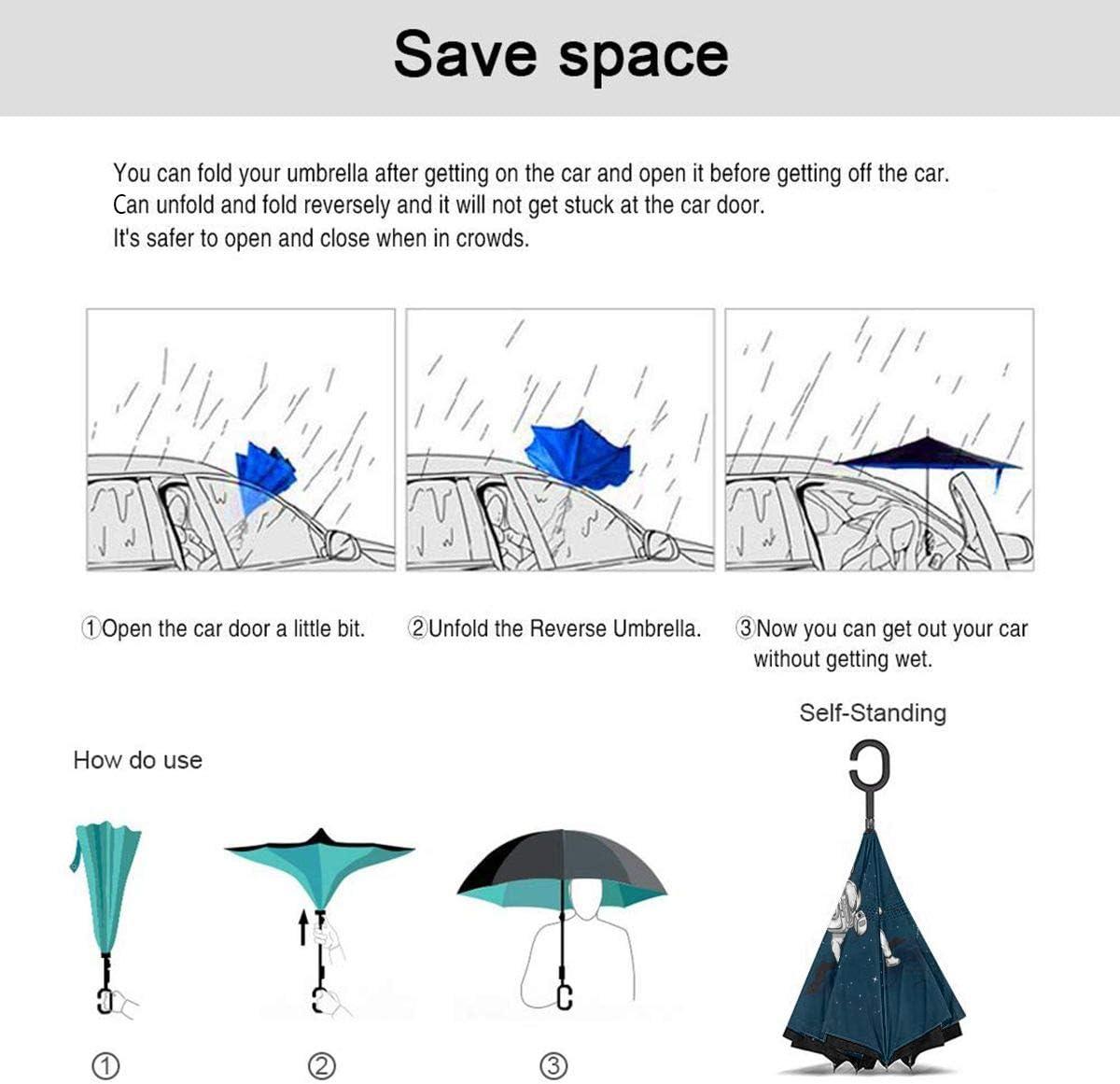 S200US The Astronauts Fencing in Space Inverted Reverse Umbrella Sun/&Rain Car Large Windproof Travel UV Umbrella