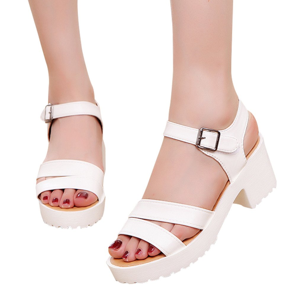 Shoes For Womens -Clearance Sale ,Farjing Women Outdoor Round Toe Platform High Heels Wedges Sandals Buckle Slope Shoes(US:8,White )