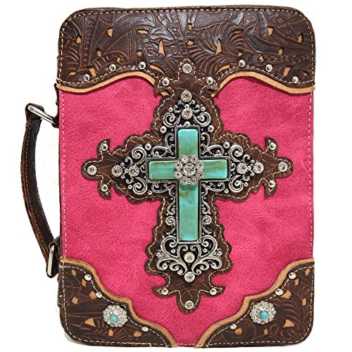 Western Style Bling Rhinestone Cross Country Women's Bible Cover Books Case Removable Strap Messenger Bag (Fushsia)