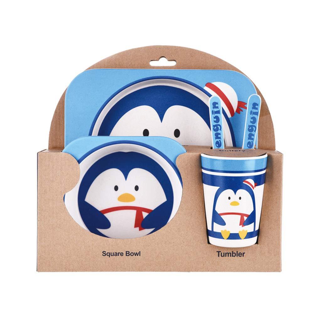 Topker 子供用食器5点セット 竹繊維 カートゥーンボウル 動物食器セット 幼児用カップスプーンフォーク   B07GZNL9J1