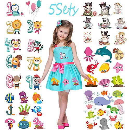 Kids Heat Transfer Patches Cute Cartoons Iron On 5 Set Animal Iron on Applique Stickers Lovely Cat Patches for Girls DIY Decorate Clothing Backpack Bag T-Shirt Jeans Decor Birthday Party Accessories