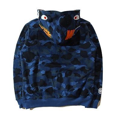 Dream Mens Shark Jaw Camo Ape Bape Hoojacket Zipper Jacket Sweat Coat Blue