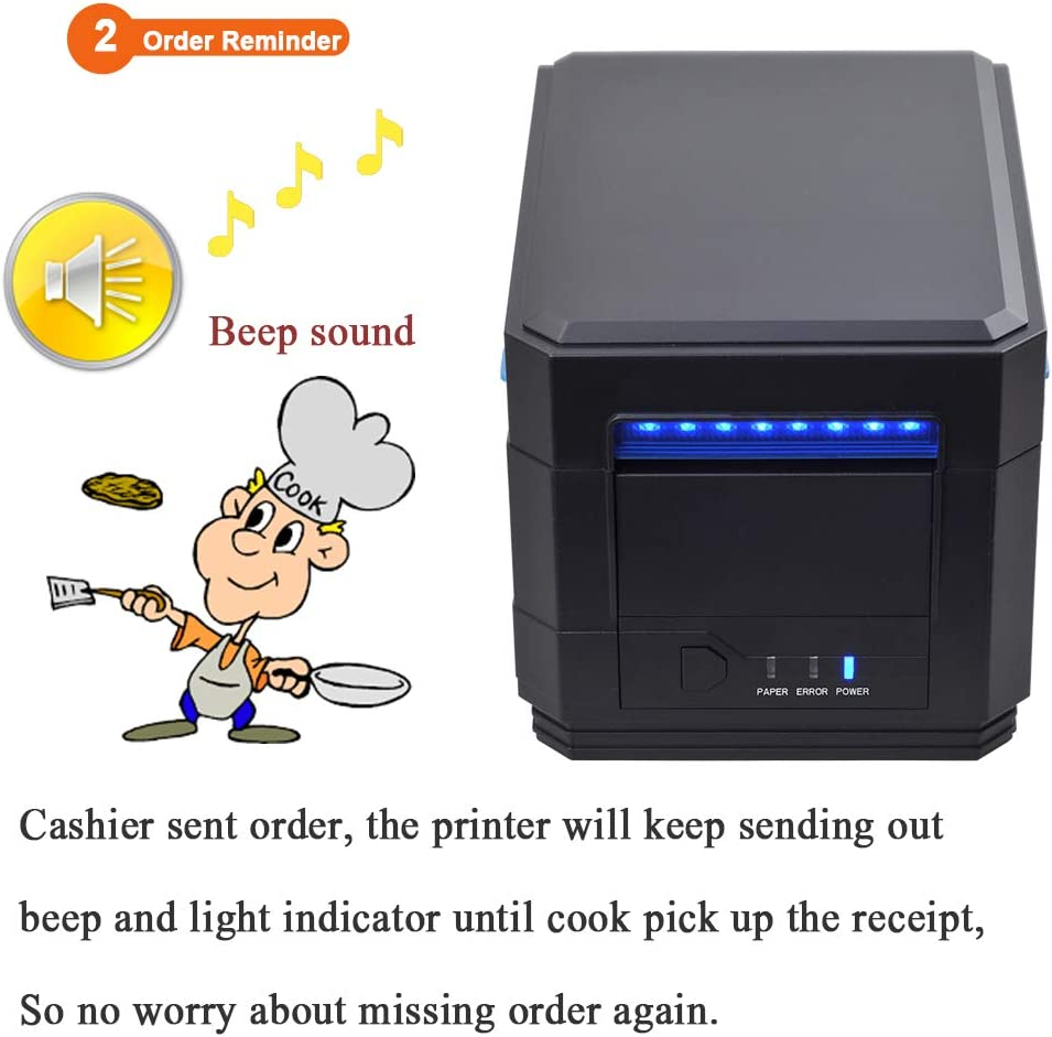 MUNBYN Thermal Printer Waterproof Oilproof Support ESC//POS USB RS232 Serial LAN Port 80MM Kitchen Thermal Receipt Printer with Sound Beeping Alarm and Auto Cutter