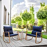 Wood Patio Furniture SUNCROWN Outdoor Rocking Chair Set 3-Piece Patio Bistro Set: Grey Wicker Patio Furniture W/Wood-Grain Arm Rest - Two Chairs with Glass Coffee Table (Nautical Navy Cushion)