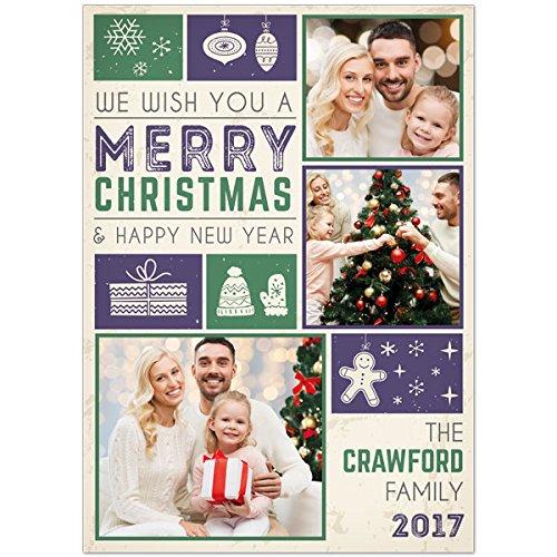 Green Photo Snowflake (Purple Green Snowflakes Holiday Christmas Photo Cards 5x7, Set of 20)