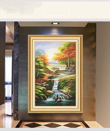 Sxuefang lienzos Cuadros Paisaje clásico Pintado a Mano Pintura óleo salón Guan Xuan decoración Pintura Escalera Vertical Colgante Pintura: Amazon.es: Hogar