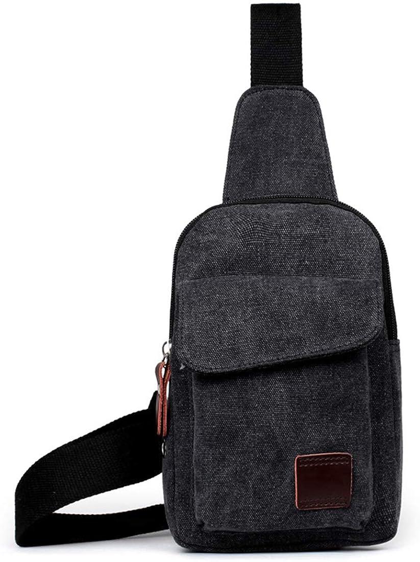 Mens canvas USB charging chest bag backpack mens bag casual men and women chest single shoulder Messenger bag black