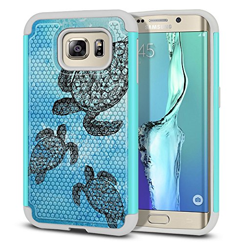 FINCIBO Case Compatible with Samsung Galaxy S6 Edge G925, Dual Layer Football Skin Hybrid Protector Case Cover Anti-Shock TPU for Galaxy S6 Edge (NOT FIT S6 Edge+ Plus) - Ocean Sea Turtle