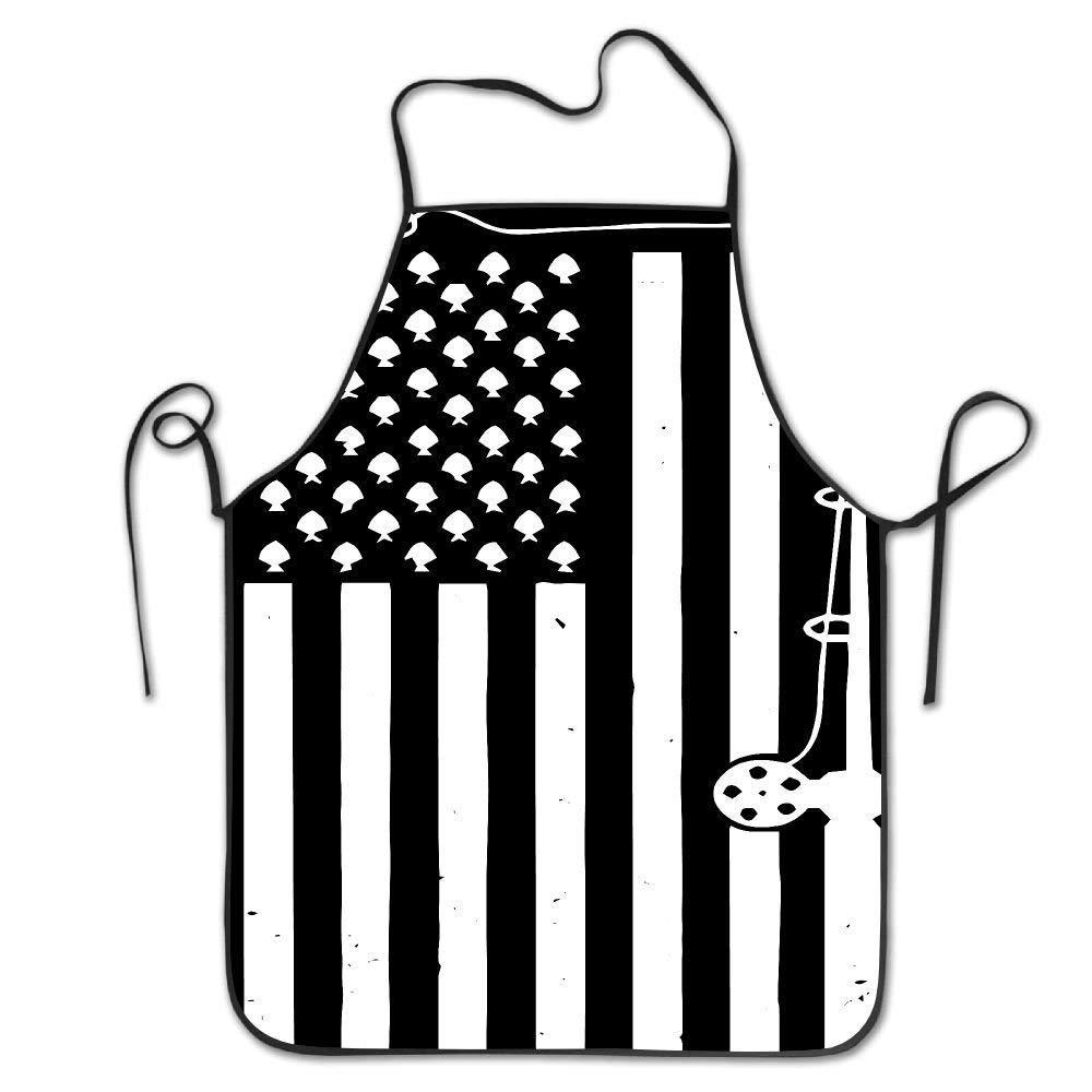 amiuhoun フィッシング アメリカ国旗 ユニセックス キッチン ビブエプロン バーベキュー ティーショップ 調節可能なネックシェフエプロン   B07GQZ169Q
