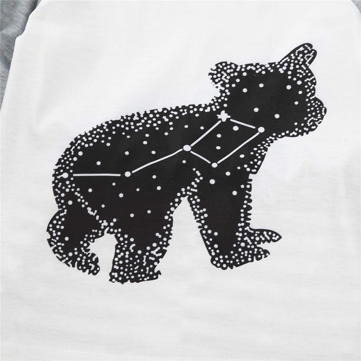 Dreshion Family Matching Pajamas Set Stripe Black Bear Sleepwear for Dad,Mom,Baby Kid