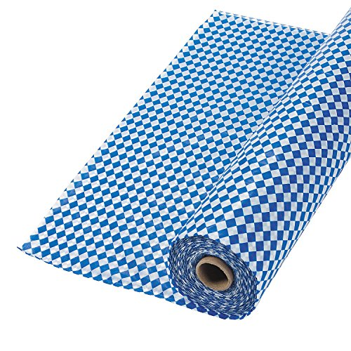 Blue and White Argyle Plastic Tablecloth Roll (40