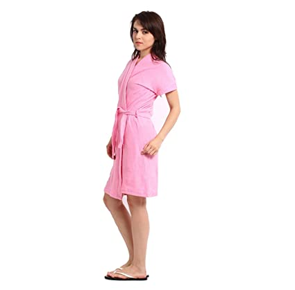 a9eae807b Buy Superior Women s Cotton Bathrobe(SK034 Pink) Online at Low Prices in  India - Amazon.in