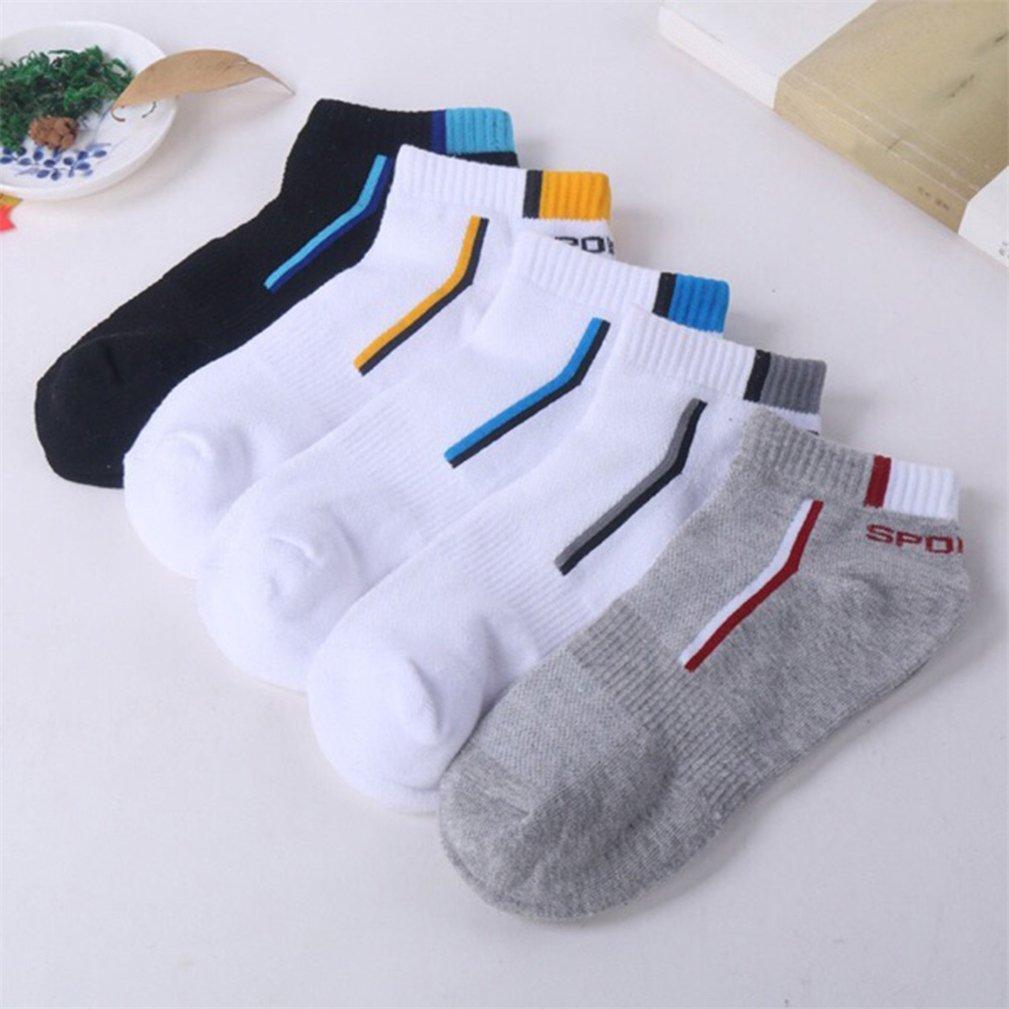 Potato001 1 Pair Men Sports Cotton Stripe Pattern Breathable Stretchy Short Boat Socks