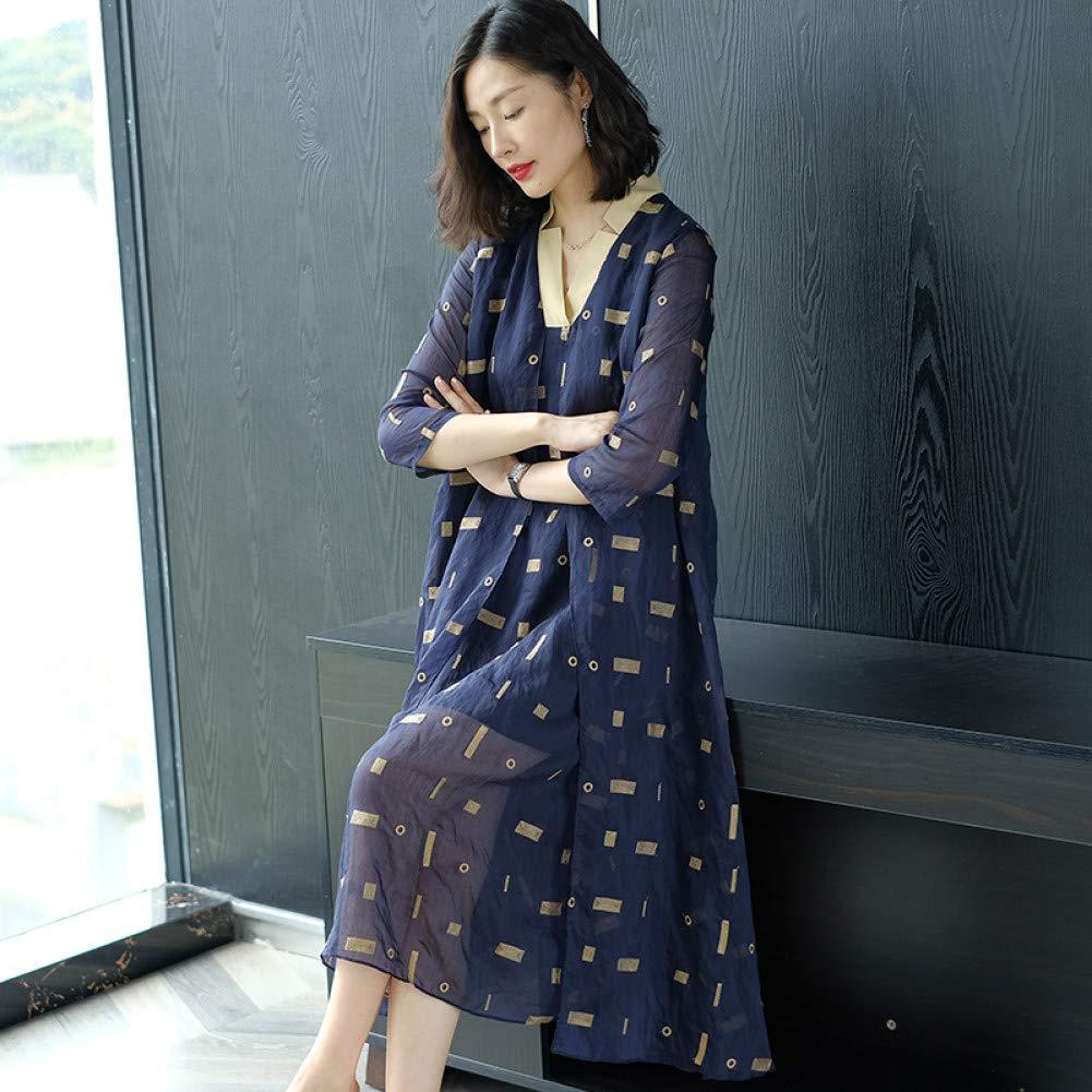L BINGQZ Cocktail Dresses Summer dress large size temperament long loose covered belly dress v neck silk mesh skirt
