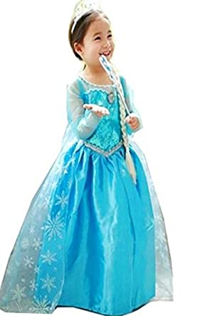 Kinder Kostum Elsa Eiskonigin Hell Blau Madchen Costume 4 10 Jahre