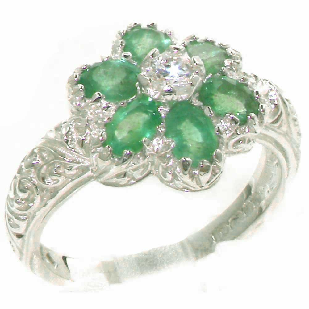 925 Sterling Silver Natural Emerald Womens Cluster Ring - Sizes 4 to 12 Available