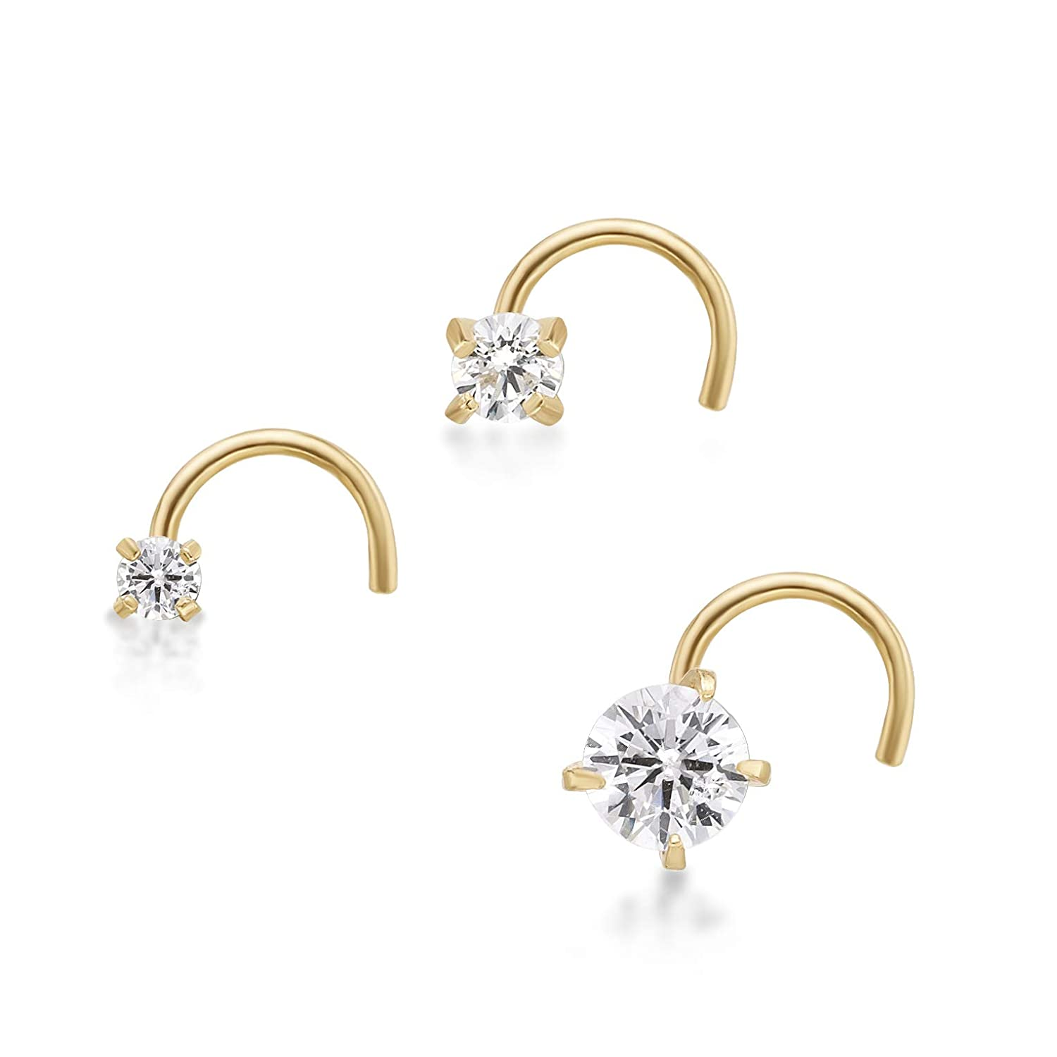 Lavari 14K Yellow Gold 3 Pc White Cubic Zirconium Nose Ring Set