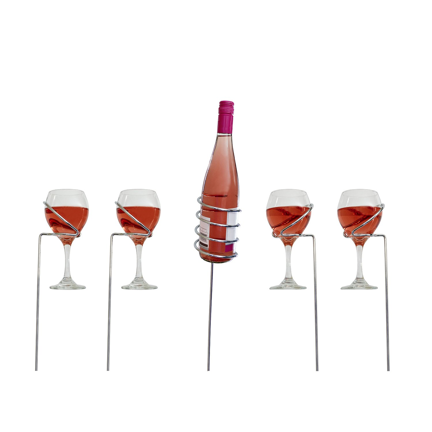 Wine Stake Holders, 5-Piece Set – 1 Bottle Holder, 4 Glass Holders – for Convenient Outside Use