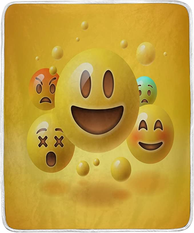 Smiley-Silly Face,Emojis`Pink-Warm Velvet Throw Blanket`50 x 60-/>New-/>Free To US