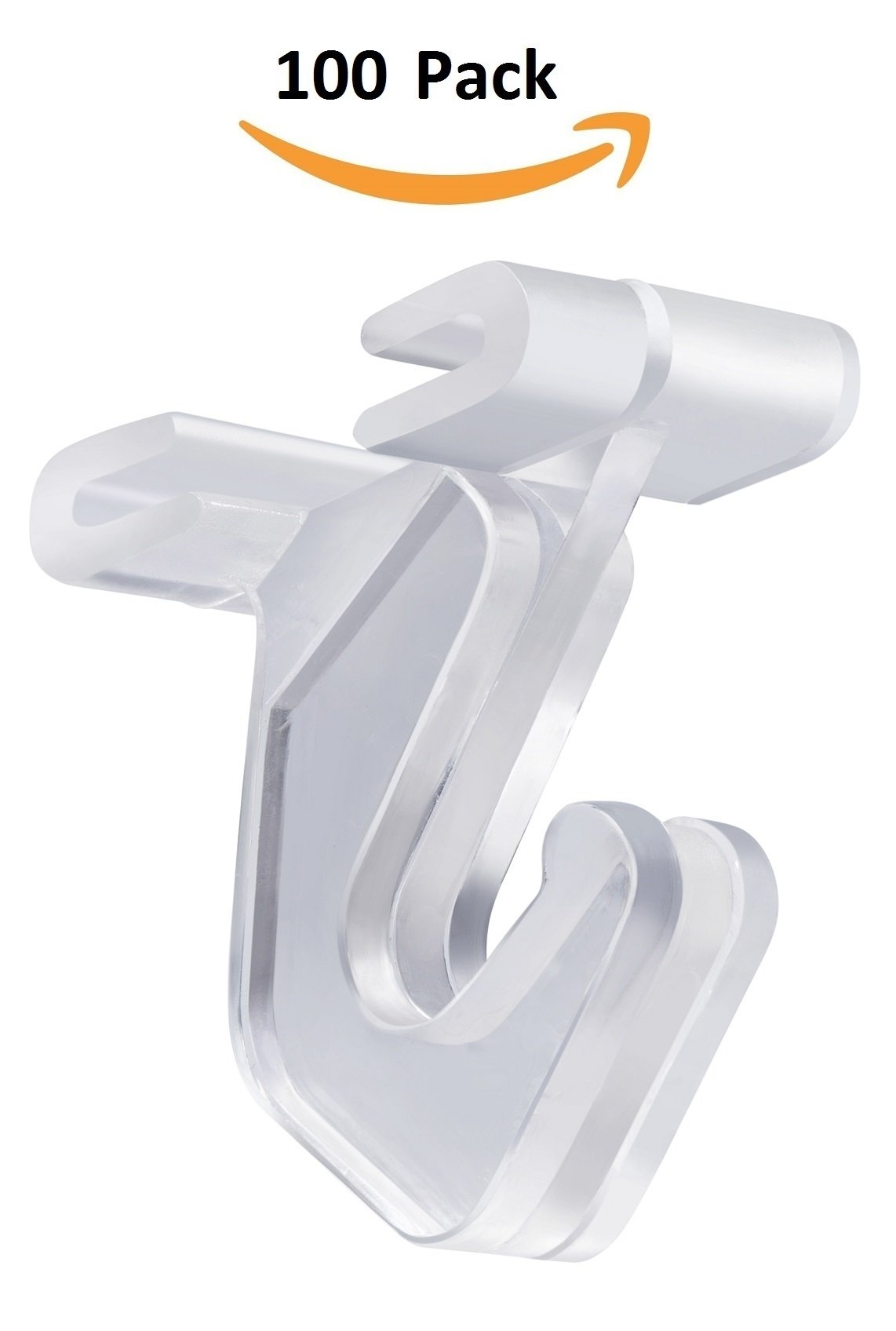 Pack of 100 - Crystal Clear Hinged Polycarbonate Ceiling Hooks for Drop-Ceiling T-Bars, Holds up to 15 lbs. 1''W x 1 ½''H