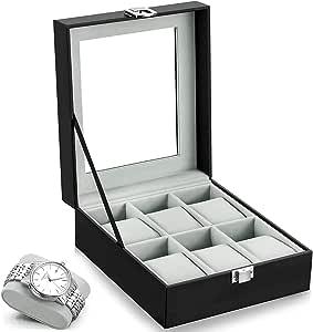 HBselect Caja Relojes para Guardar 6 Relojes Negro Clásico Caja para Organizar Relojes para Hombre y Mujer: Amazon.es: Relojes