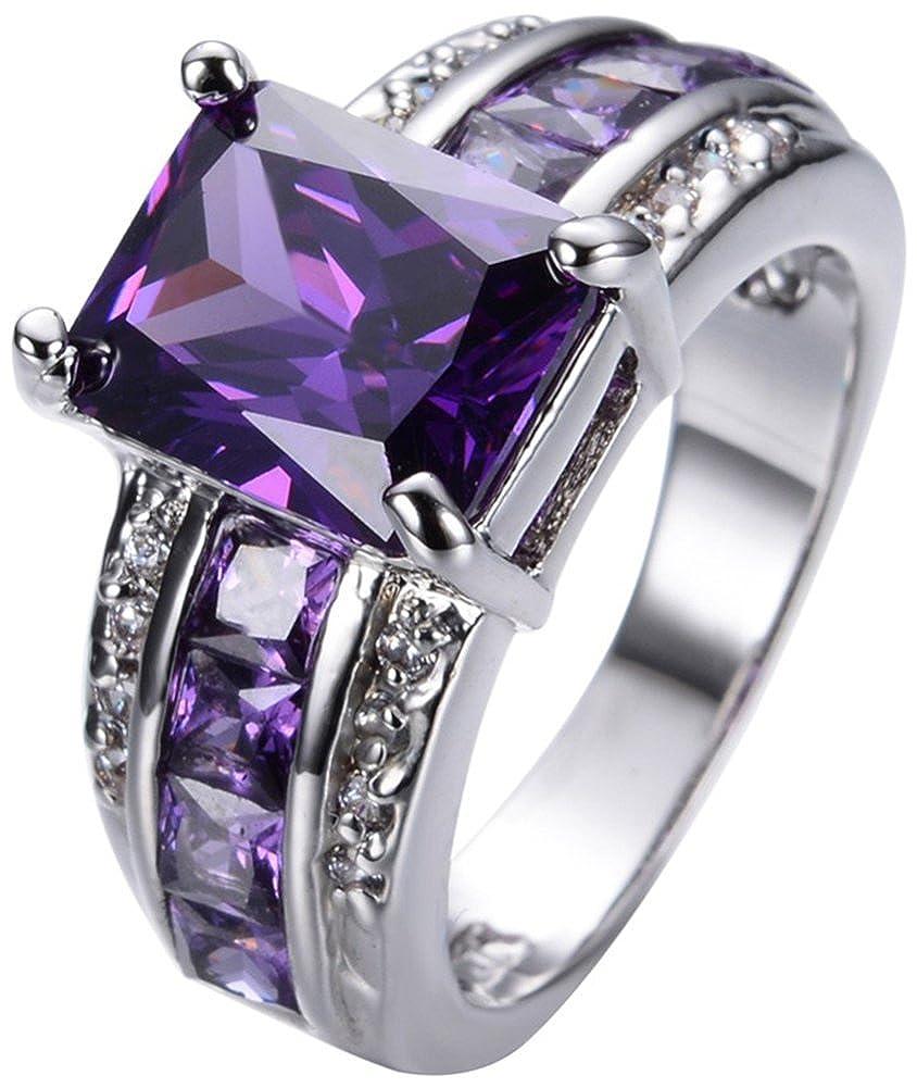 AmaranTeen 10KT White Gold Filled Amethyst Anniversary Wedding /& Engagement Ring
