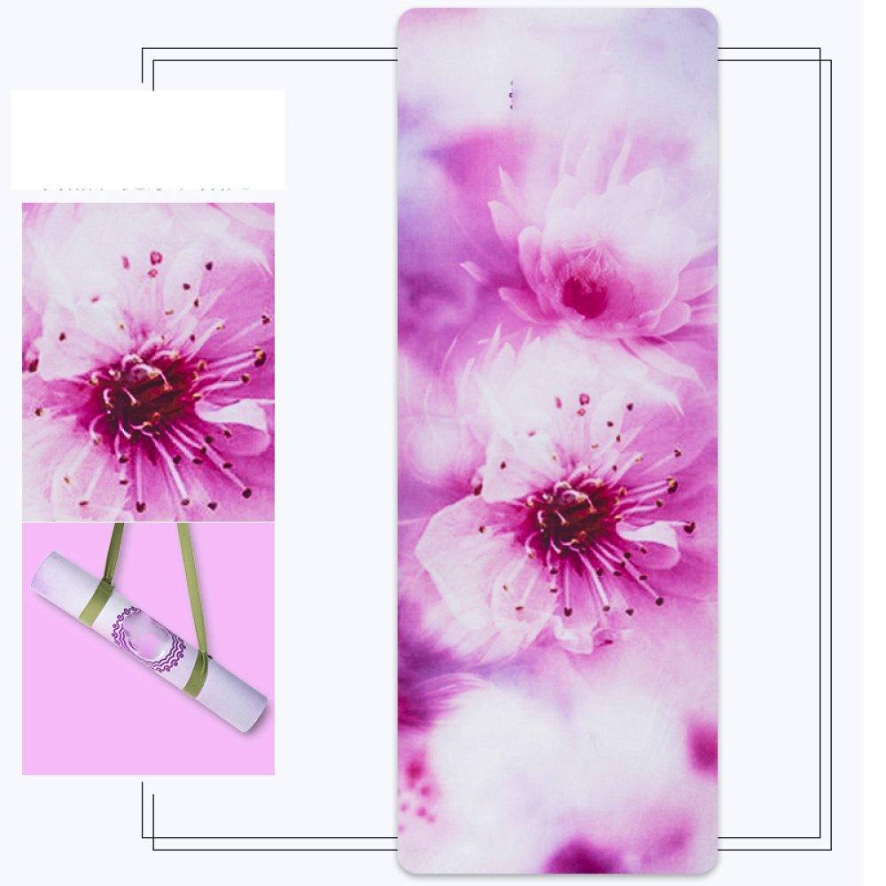 DHG Tappetini fitness in gomma naturale, tappetini per yoga fitness professionali, tappeti yoga antiscivolo stampati, estensibile coperta pieghevole per asciugamani da yoga,B,5 millimetri