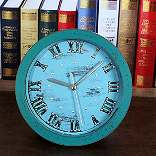 5'' Alarm Clocks Round 3D Time Teacher Beep Alarm Clock Vintage Wooden Pattern Silent Non-ticking Quartz Desk Clock -Roman ()