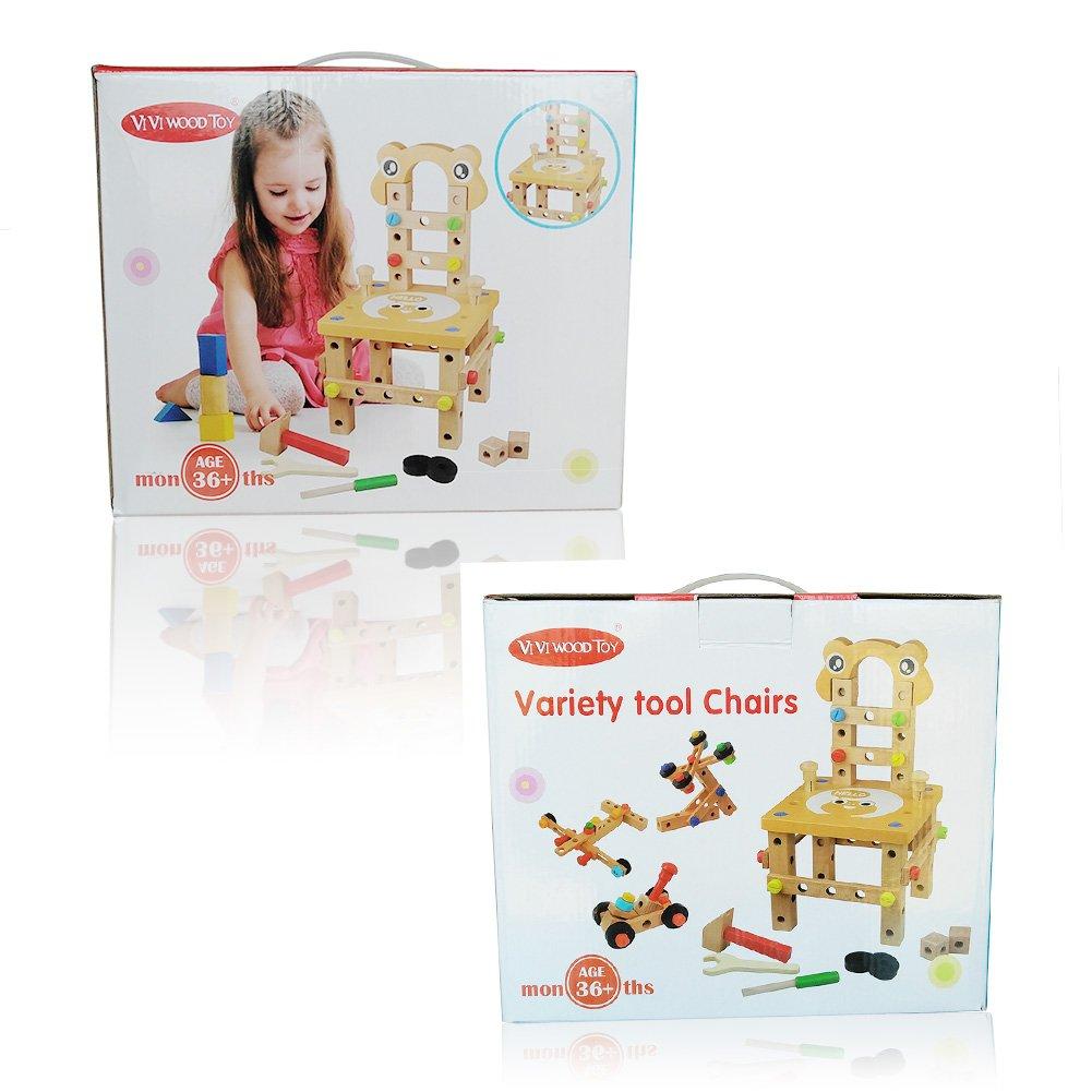 WMAOT Enfants Etabli de Bricolage en Bois Boîte à Outils DIY Charpenterie Construction Outils Orange 1-1