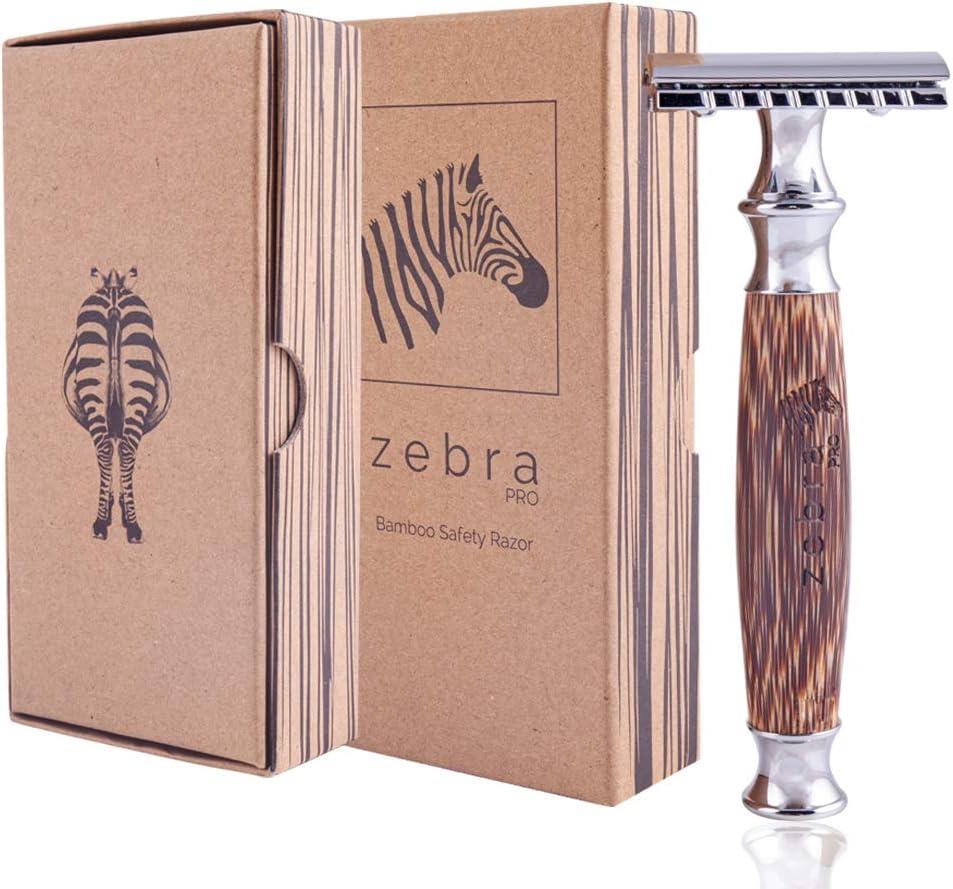 Maquinilla de Afeitar Clásica | Mango de Bambú Natural | Cuchilla de Afeitar Clásica | Afeitado Perfecto | Gran Calidad | Sostenible y Duradera | Zebra Pro
