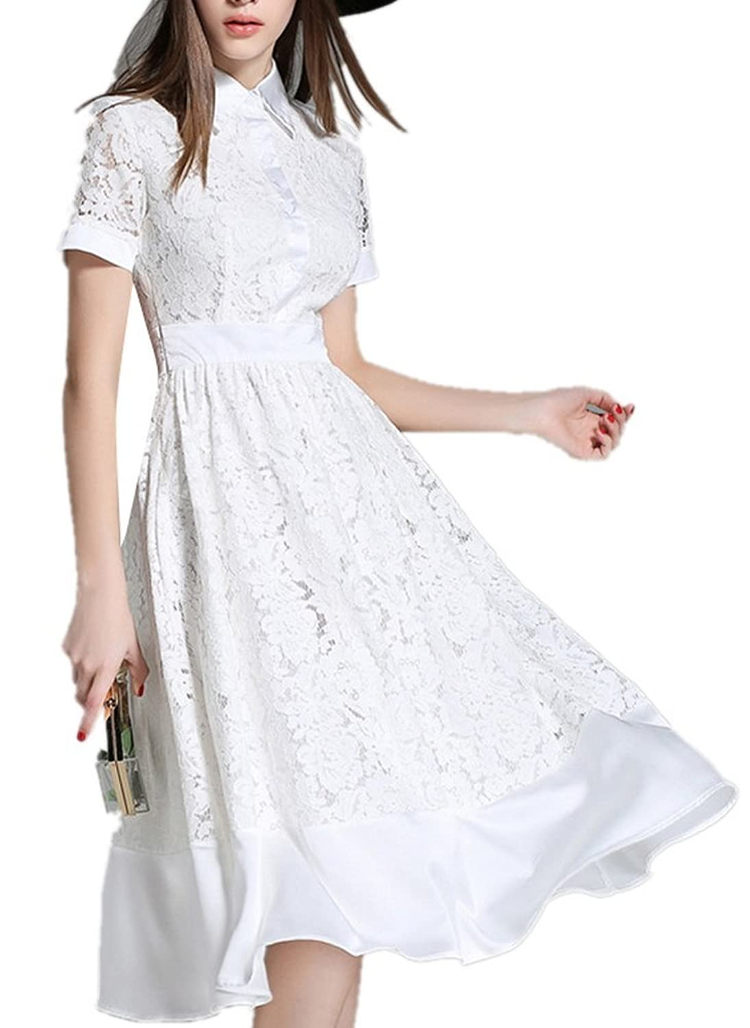 Allbebe Women's Lapel Short Sleeveless Floral Lace Tiered Party Dress