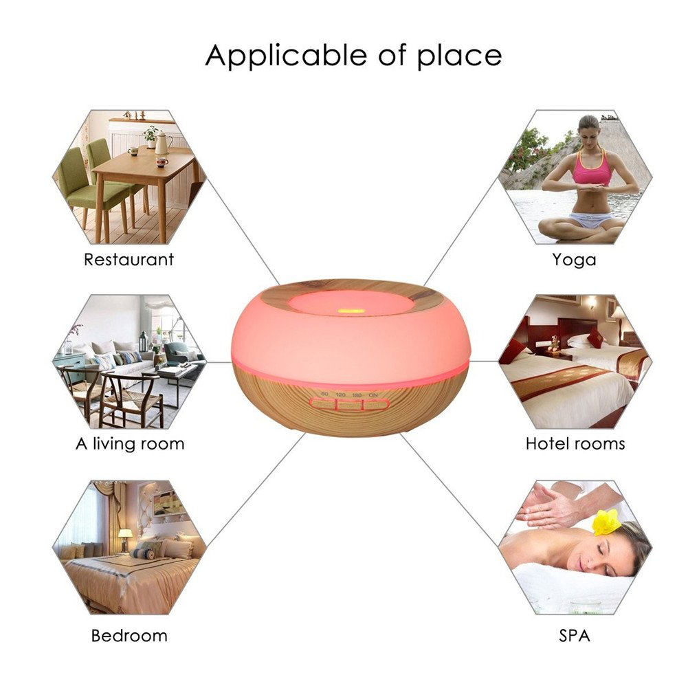 TRADE Yellow Wood Grain Ultrasonic Spray 7 Color Changing Waterless Auto off Perfect Night Companion 300ML Essential Oil Aromatic Air Diffusion Roundness Beauty Humidifier by TRADE® (Image #7)
