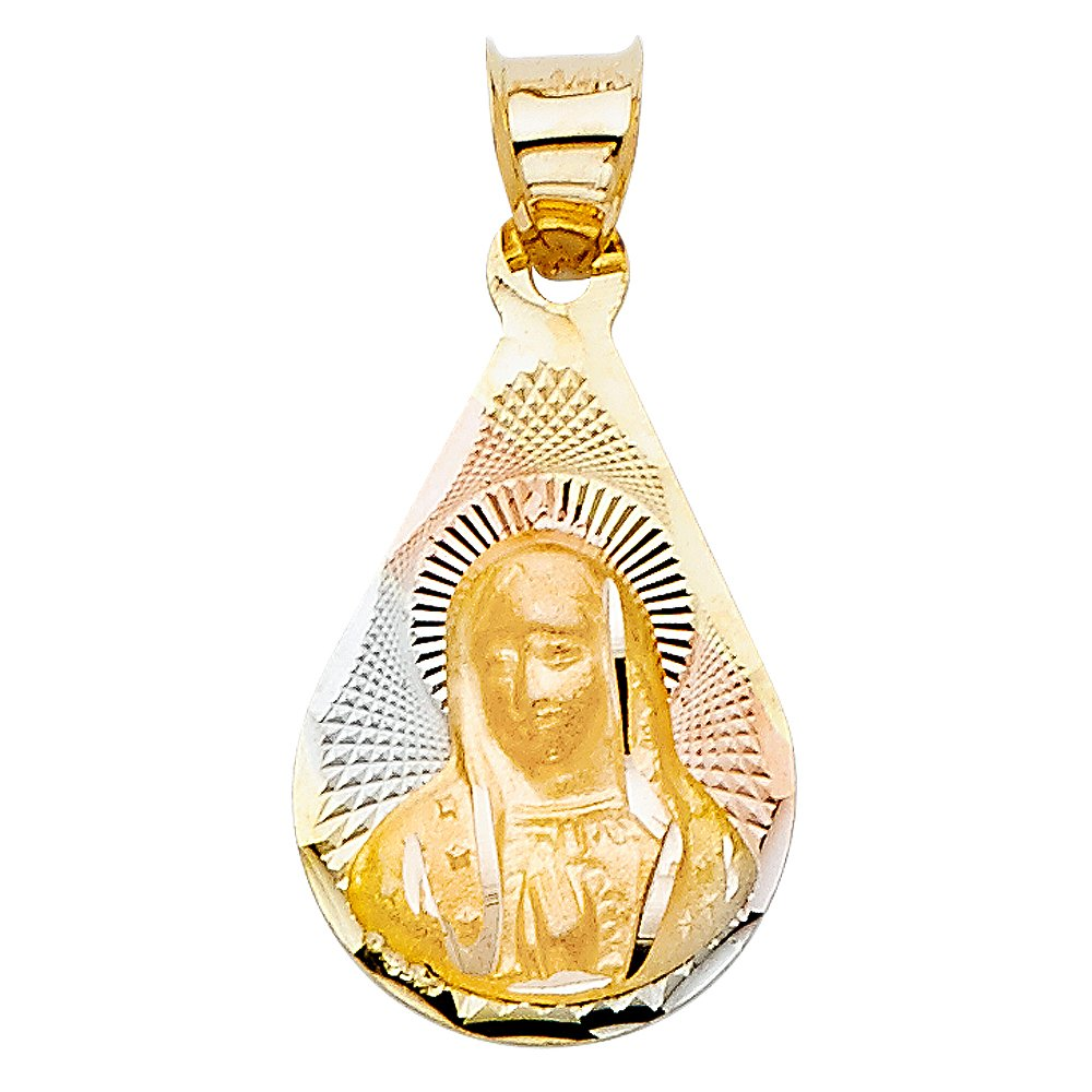 18mm x 12mm Million Charms 14K Tri-Color Gold Guadalupe Stamp Charm Pendant with 18 Rolo Chain
