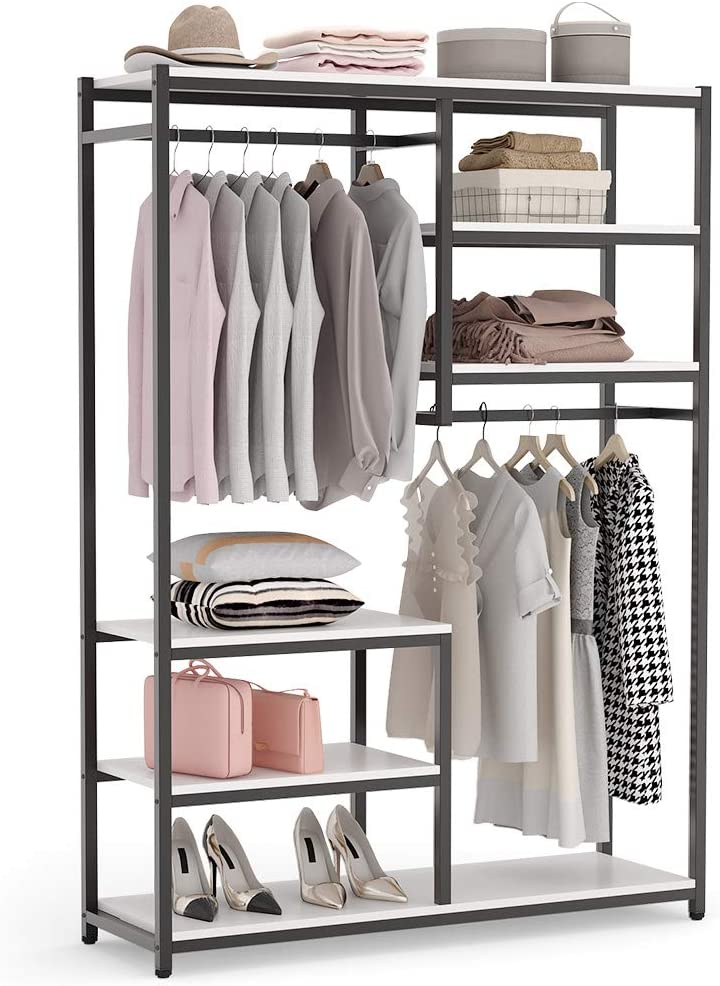 Modern Minimalist Free Standing Closet Organizer Bedroom Multi-function Metal Frame Rack with 6 Small Storage Shelves and 2 Hanging Rod for small space Brown Coat Rack Large Capacity,US Shipping