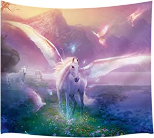 NYMB Unicorn Tapestry,Fantasy Animals in Magical Forest and Flower Bird, Wall Art Hanging for Bedroom Living Room Dorm, 71 X 60 inches Wall Blankets Home Decor
