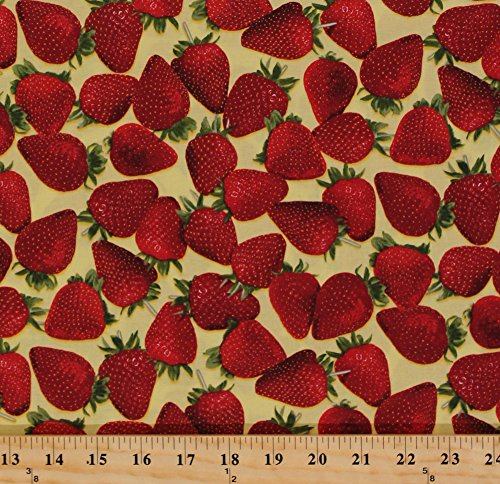 Cotton Strawberries Strawberry Patch Fruit Food Picnic Garden Kitchen Summer Farmer's Market Fresh Picked Fruits Cotton Fabric Print by the Yard (1649-23003-S)