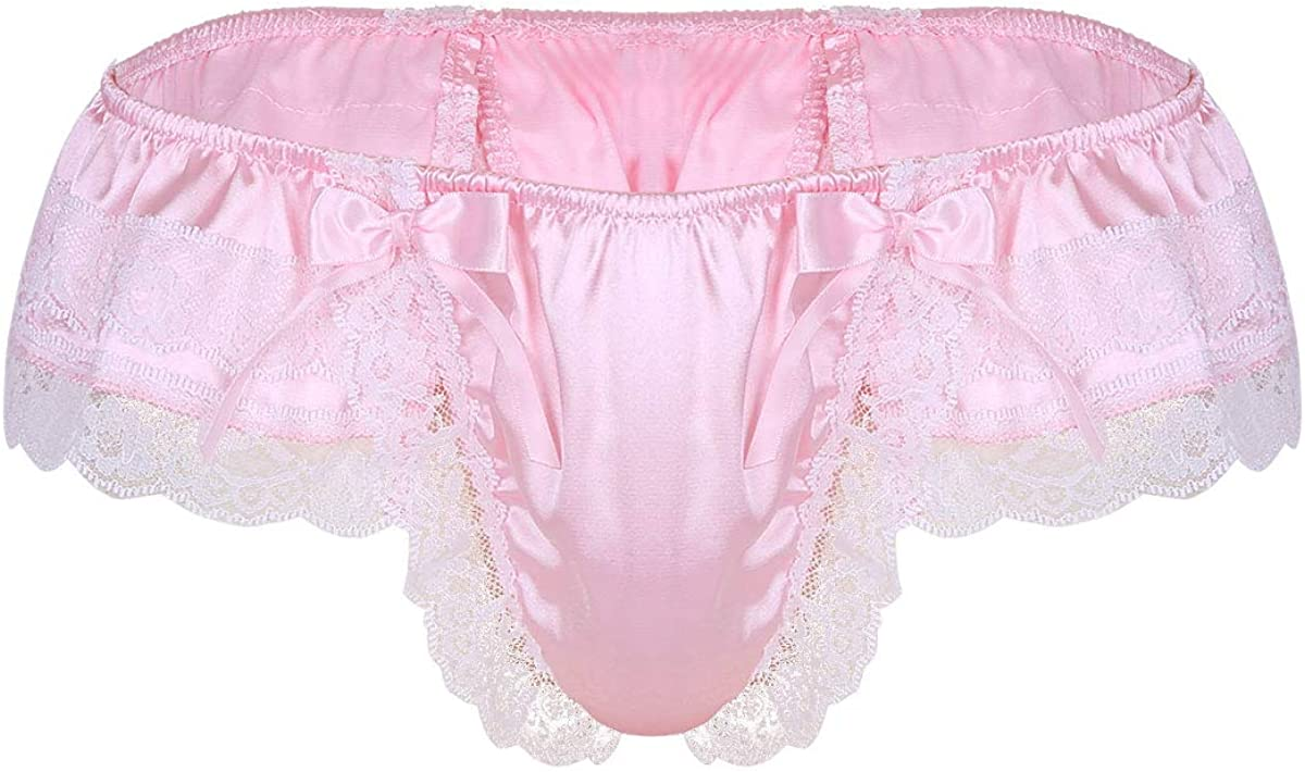 inlzdz Mens Frilly Satin Halter Cut Out Backless Thong Jockstrap Maid Sissy Bodysuit Lingerie