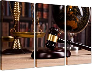 Vintage Law Office Room Decor 3 Pieces Canvas Wall Art Law Firm Scales Justice Legal Hammer Picture On Canvas for Court Decoration Ready to Hang