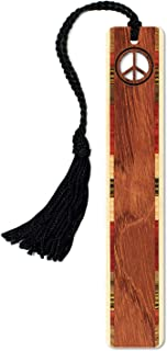 product image for Peace Sign Engraved Wooden Bookmark with Tassel